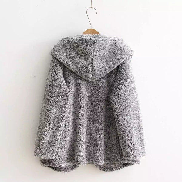 Fashion Hooded Pockets Gray Fur Cardigan