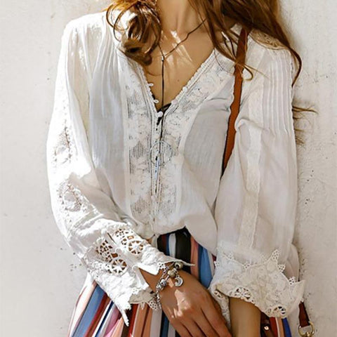 Bohemian Woman V Neck Pure Blouse