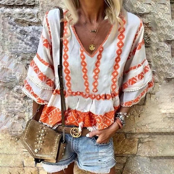 Casual V Neck Printed Colour Bracelet Sleeve Loose Top