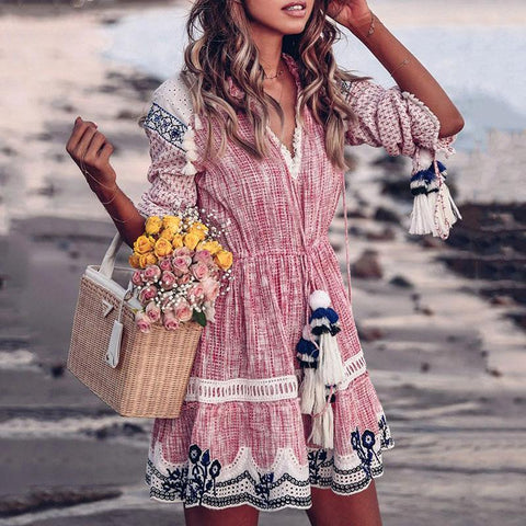 Sweet V Neck Printed Colour Tassel Lace Splicing Casual Mini Dress