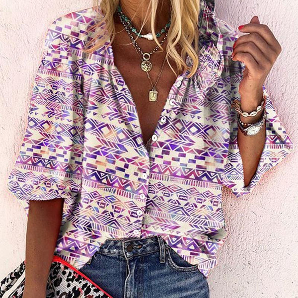 Beach Casual Turndown Collar Halflong Sleeve Printed Colour Blouse