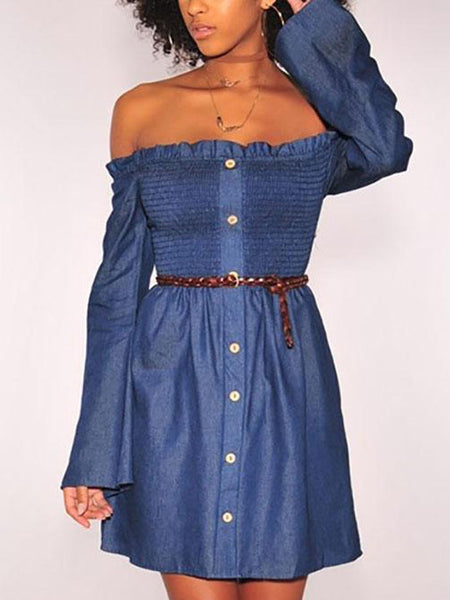 Sexy Elastic Strapless Denim Skater Dress