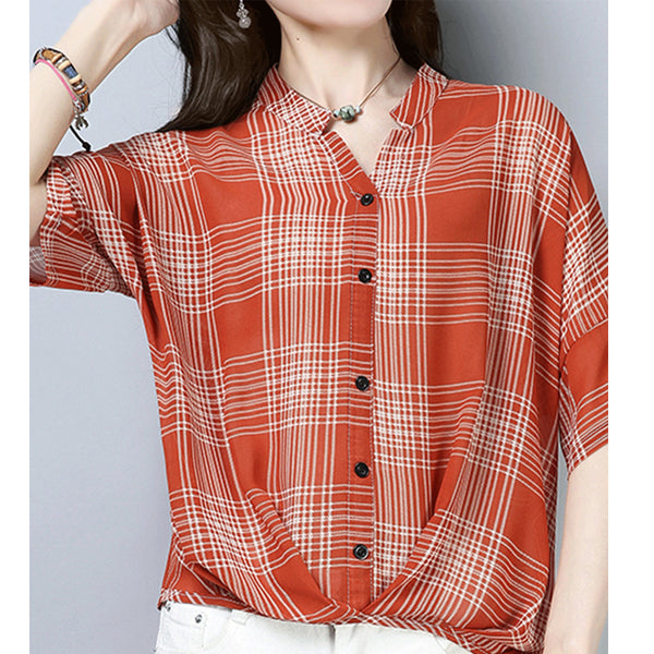 V Neck Asymmetric Hem Decorative Buttons Blouses
