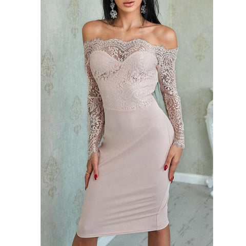Off Shoulder Lace Patchwork Plain Long Sleeve Bodycon Dresses
