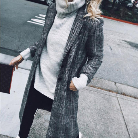 British Style Vintage Plaid Cardigan Coat