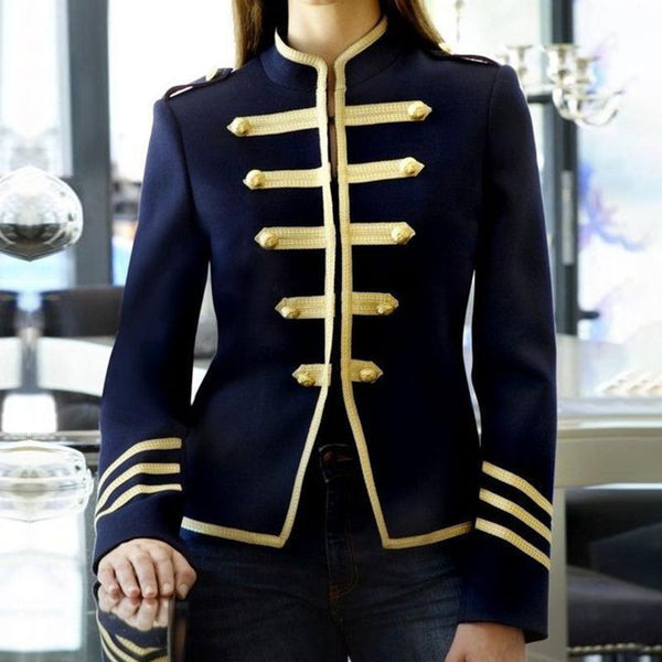 Preppy Style Stand Collar Long Sleeve Pure Colour Blazer