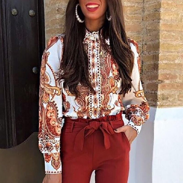 Vintage Women Fold-Over Collar Long Sleeve Printed Shirts