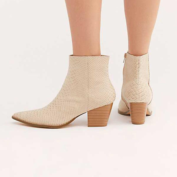 Gentlewomanly Snakeskin Pointed Toes Chunky Heels Martin Boots