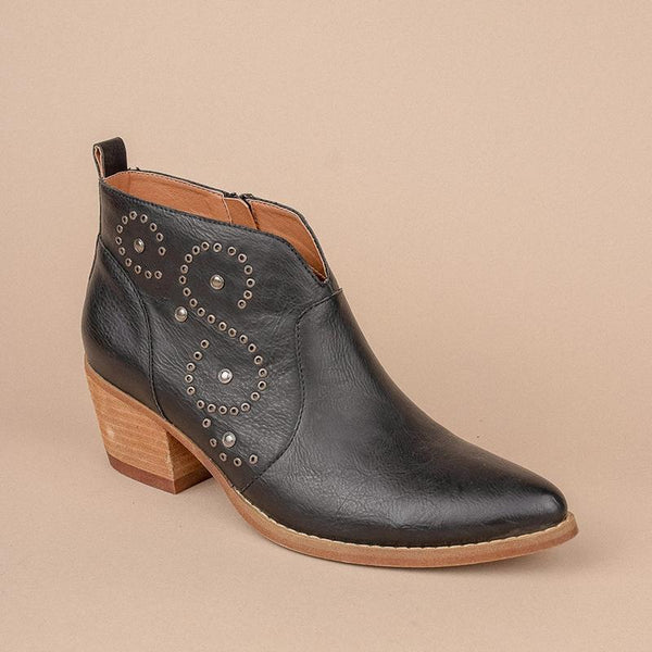 Women's Fashion Solid Color Rivets Decorative Ankle Boots