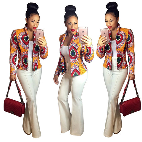 Retro Style Print Long Sleeves Round Collar Jacket