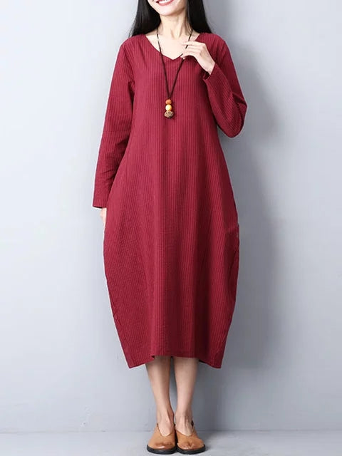 V neck Women Daily Casual Long Sleeve Linen Pockets Solid Dress