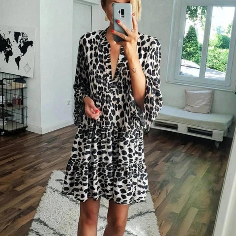 Fifity Vintage Leopard Printed V-Neck Long Sleeve Loose Mini Dress
