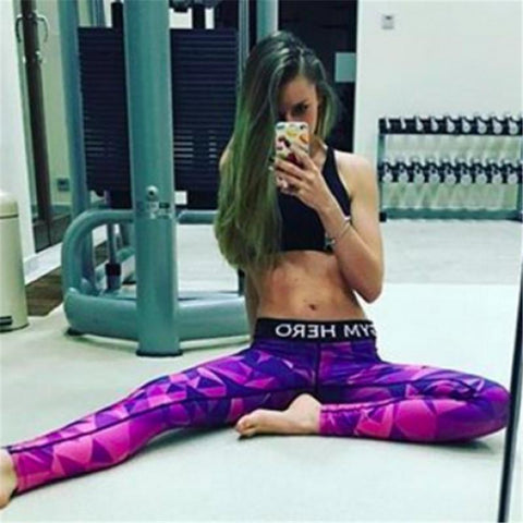 Geometry Print Camouflage Sports Slim Leggings