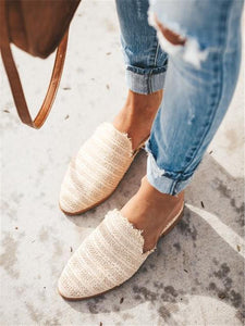 Fashion Simple Woven Pointed Flat Shoes