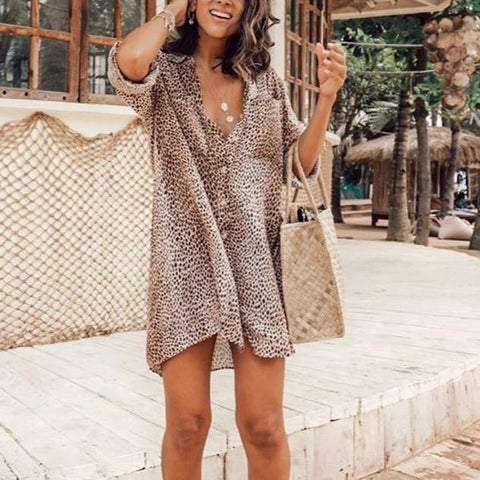 Fifity Loose 3/4 Sleeve Beach Shirt Mini Dress