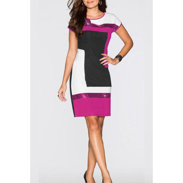 Round Neck  Glitter  Color Block  Short Sleeve Bodycon Dresses