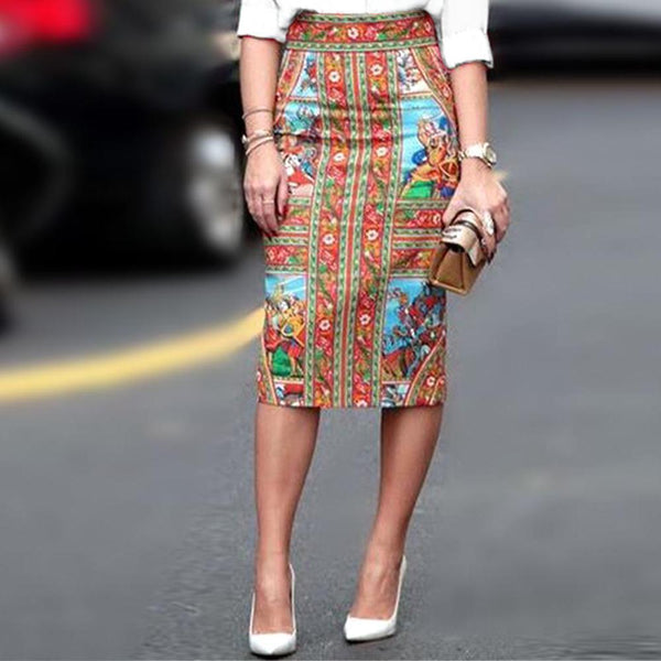V-Neck  Blouse With Vintage Printed Skirt Fall/Winter Two-Piece Set