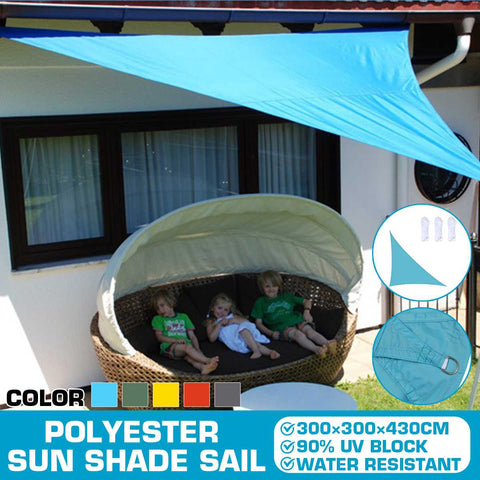 3x3x4.3m Waterproof Triangle Awning Shade Sail Sun Outdoor Sun Shelter Shade Sail Garden Patio Pool Camping Picnic Tent