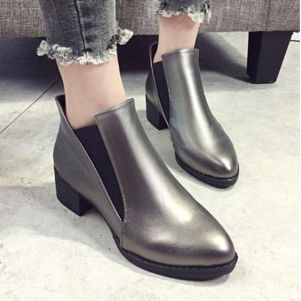Plain Chunky Low Heeled Point Toe Outdoor Ankle Boots