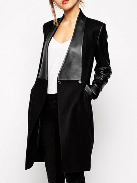 Trendy Band Collar Loose Fitting Patchwork Overcoats