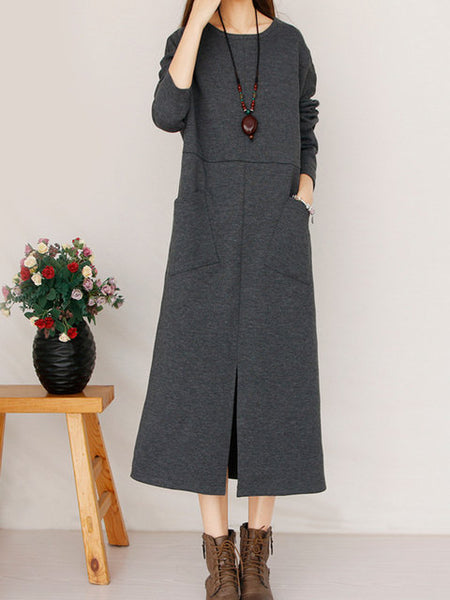 Women Shift Daily Long Sleeve Cotton Slit Dress