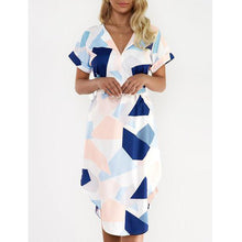 Load image into Gallery viewer, Henley Collar Geometric Bodycon Dress