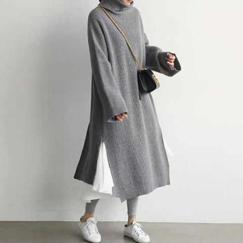 Casual Simple Pure Color Loose High Collar Knitted Maxi Dress