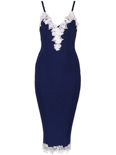 Embroidery Border Spaghetti Strap Bodycon Dress