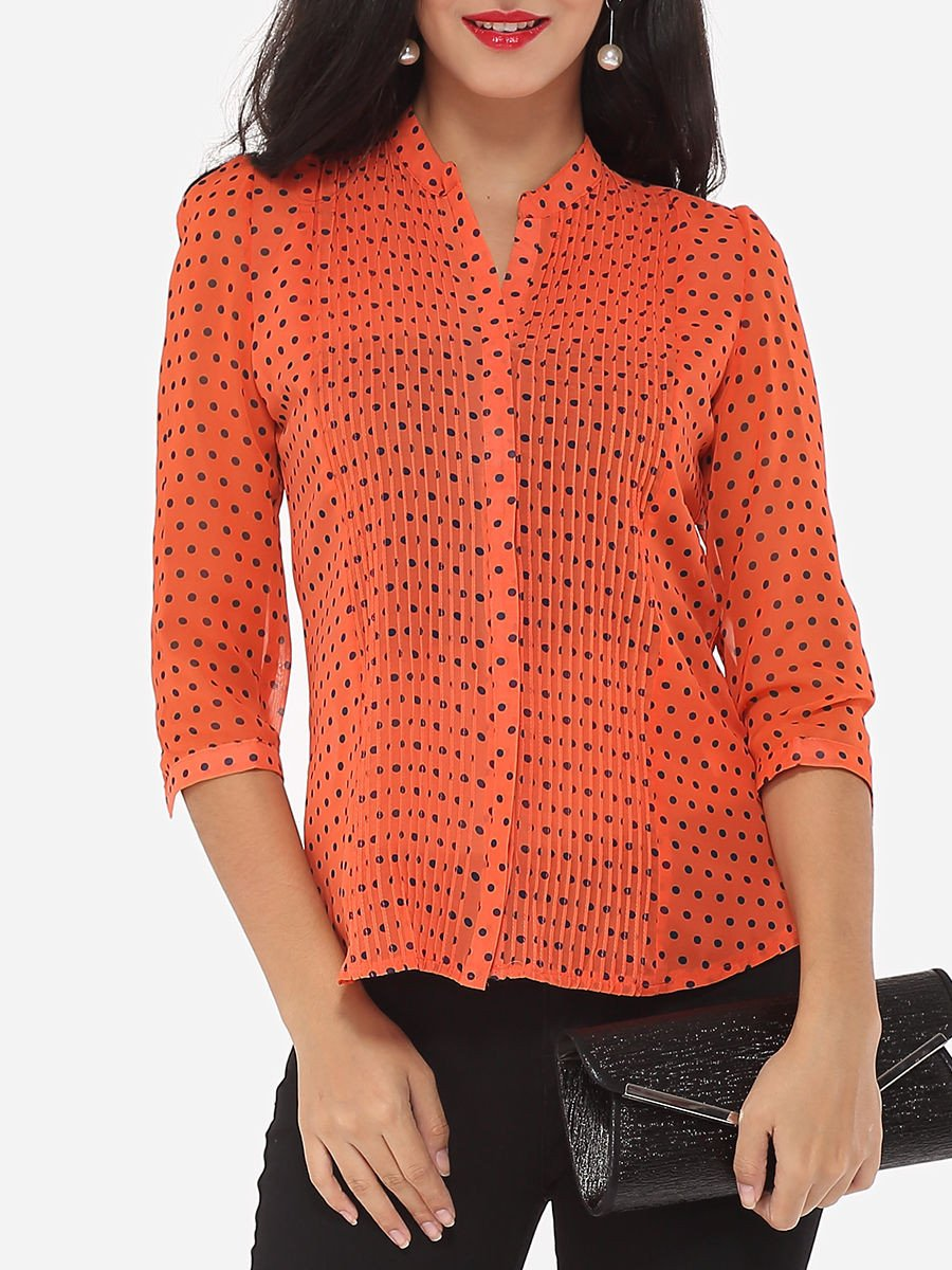 Polka Dot Extraordinary V Neck Blouse