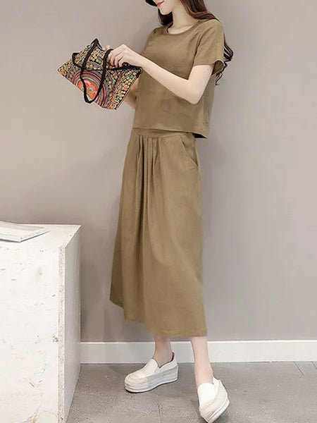 Women Two Piece Daytime Short Sleeve Cotton Shirred Solid Dress