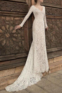 High-End Lace V-Neck Bride Wedding Evening Long Dress