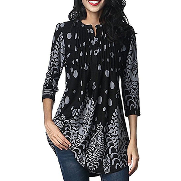 Crew Neck Decorative Buttons Floral Printed Loose Tunic Long Blouses