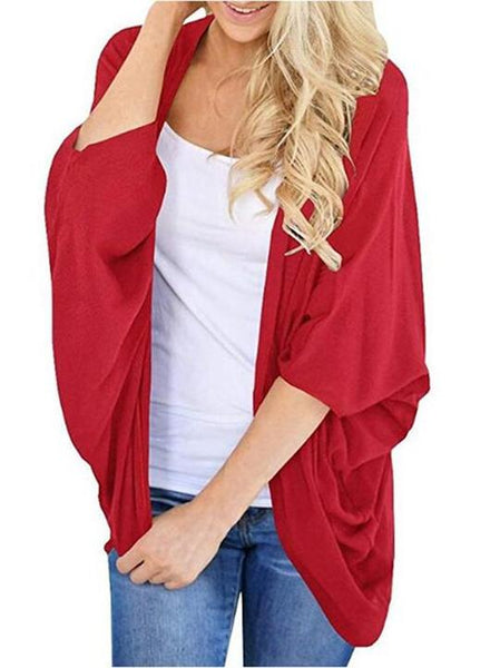 Fashion Early Autumn Pure Color Loose Bat Sleeve Cardigan