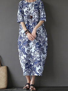 Plus Size Women Cocoon Daytime Cotton 3/4 Sleeve Printed Floral Dress