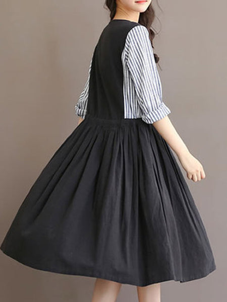 Women Black A-line Daytime Casual Cotton Paneled Dress