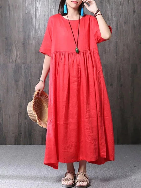 Women Shift Daily Half Sleeve Cotton Pockets Solid Dress