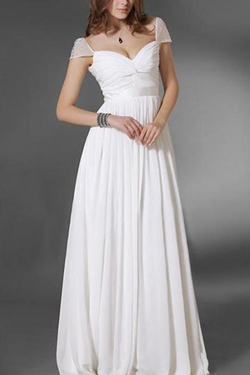 Chiffon V-Neck Sleeveless Evening Wedding Dress