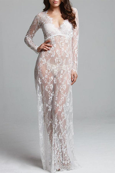 Lace Adjust Waist Sexy See Through Hollow Out Plus Size Evening Dress