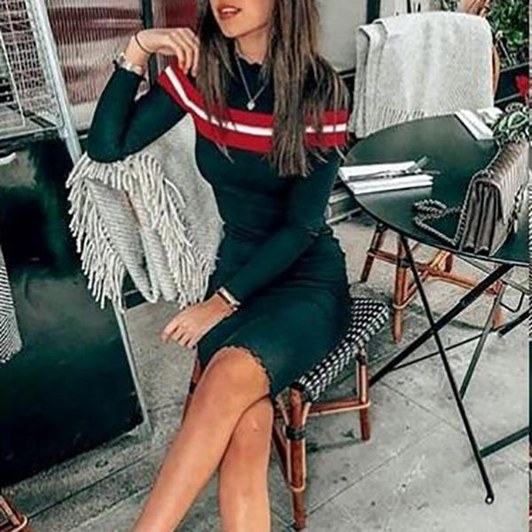 Fashion Stripe Printed Knit Bodycon Dress