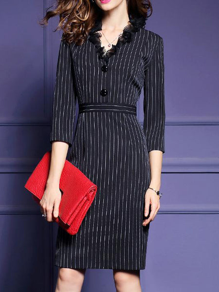 Ruffle V-Neck Stripe Slim Shift Dress