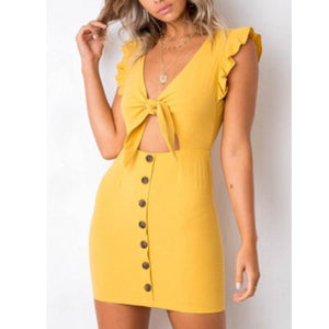 V Neck Bowknot Single Breasted Bust Darts Plain Bodycon Dresses