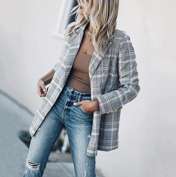 Women's Vintage Check Double-breasted Long Sleeve Blazer