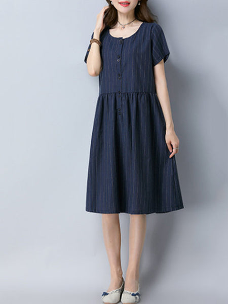 Women Shift Short Sleeve Casual Linen Buttoned Solid Dress