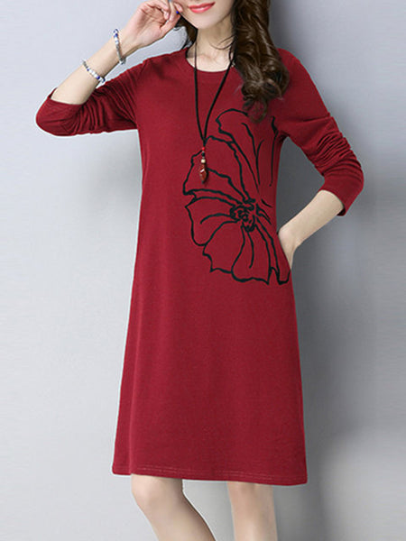 Women Going out Casual Long Sleeve Floral-print Dress