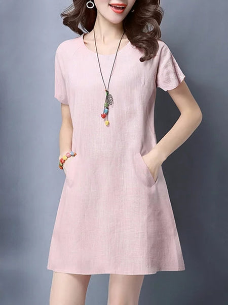 Women A-line Daily Short Sleeve Pockets Solid Dress
