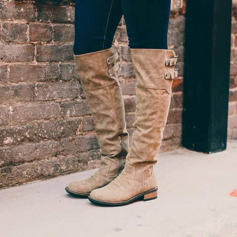 Knee High Chunky Low Heel Martin Boots