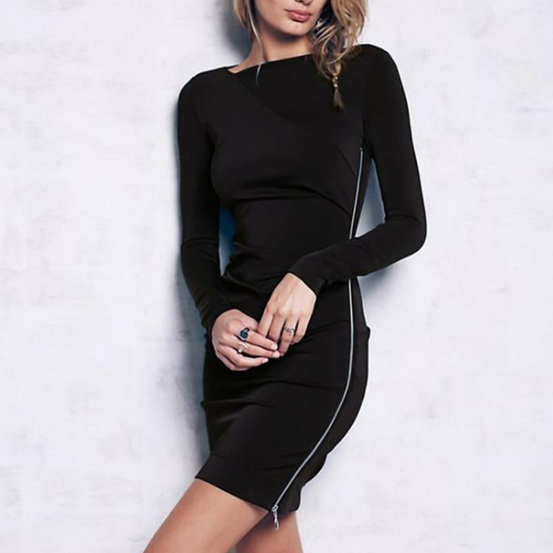Slash Neck Long Sleeve Zipper Knitting Bodycon Dress