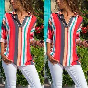 Turn Down Collar  Asymmetric Hem  Striped  Blouses