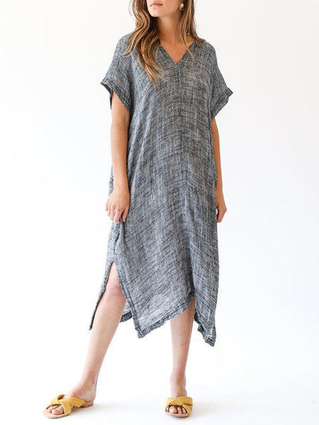 Women Gray Asymmetrical Daytime Cotton Short Sleeve Casual Slit Solid Dress