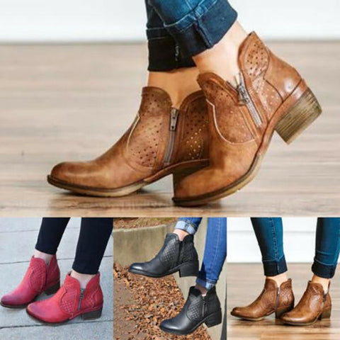 Women Cowgirl Western Hollow Ankle Boots